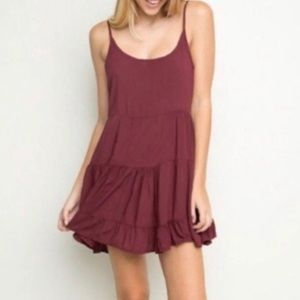 Brandy Melville • Burgundy Flowy Slip Dress